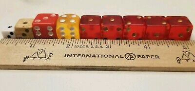 Lot of 9 Old Vintage Yellow, Transparent & Opaque Red, Wood, 1 Tiny  Dice