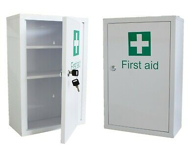 Medicine Cabinet - First Aid - Wall Mounted Lockable - Metal Cupboard + 2 Keys
