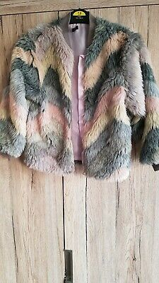 Gorgeous multi coloured girls faux fur coat jacket mini v by very age 5-6yrs