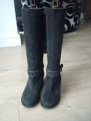Fat Face Charcoal Dark Grey Suede Wedge Boots Sz  4/37