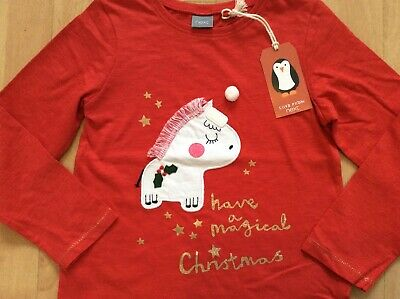 New with tags Girls Next Red Christmas Jumper Top 4-5 Years Unicorn