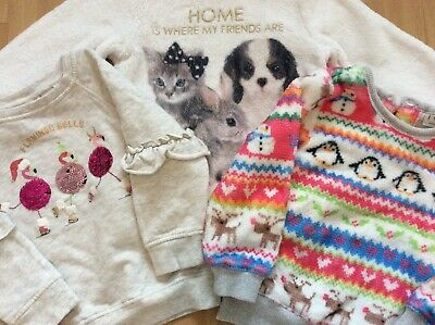 Little Girls Christmas Jumper/Fleece Bundle 2-3 Years Next H&M Sequins