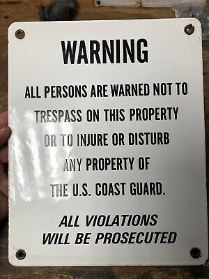 Rare Porcelain Coast Guard Warning Sign Near Mint 1950-1960s