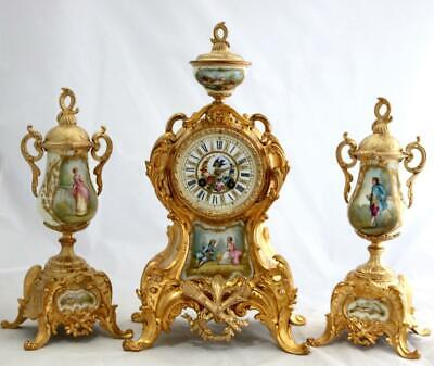 Antique French Mantle Clock Beautiful Gilt Metal & Sevres 3 Piece Garniature Set