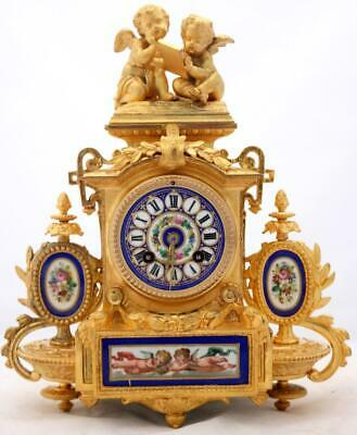 Antique Mantle Clock Stunning French 8Day Gilt & Cobolt Blue Sevres Cherub