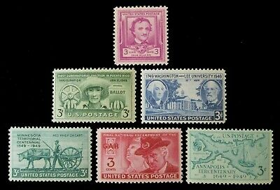 U.S. Postage Stamp Set 1949 Commemorative Year Set MNH 981 - 986