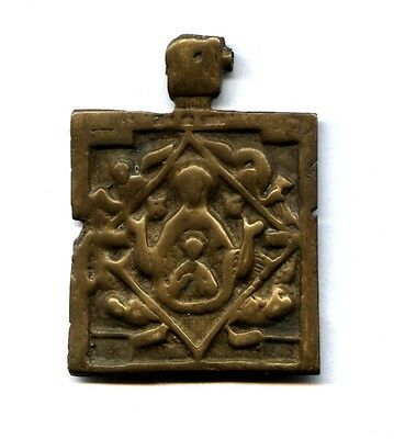 RARE XVII c. Russian Orthodox bronze Icon  :  MOTHER of GOD of SIGN