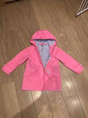 Joules Girls Pink Right As Rain Coat Age 7 Years.