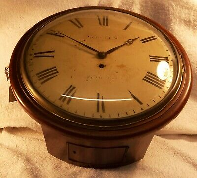 Early Victorian English Fusee Dial Clock Antique Clock 12 Inch Dial Mahogany