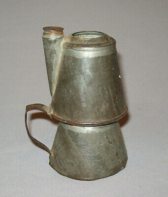 Old Antique 19th C 1850s Folk Art Tin Oil Lamp Hand Made Candle Holder Very Nice
