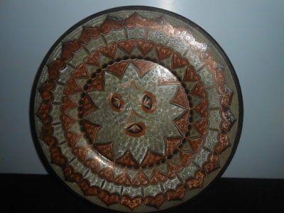 Vintage Large Copper Wall Plate Enamel Decorated Amazing Detail / Perfect