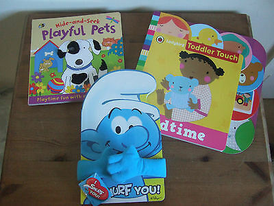 Three Board Books - Playful Pets, Smurf You & Toddler Touch Bedtime Bn