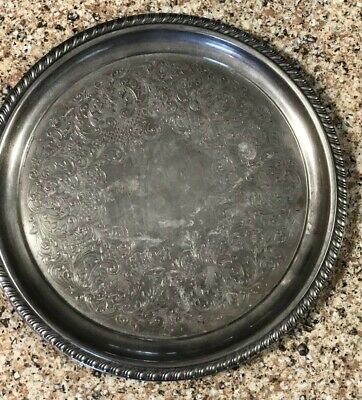 "WM ROGERS SILVER PLATED VINTAGE 0870 Roped   Serving TRAY 9""."