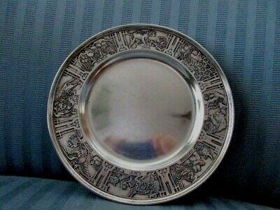 William KERR Baby Plate Saucer STERLING SILVER Child Nursery Dog Cat Bear Lion