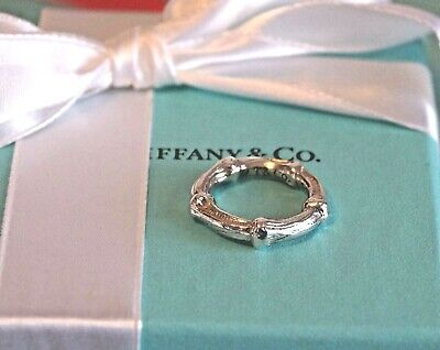 Tiffany & Co Sterling 925 Silver Bamboo Ring size 4 1/4 - 4 1/2  Excellent