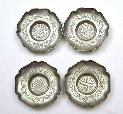 1930's Set 4 Chinese Pewter Tea Tray Dish Plate Marked
