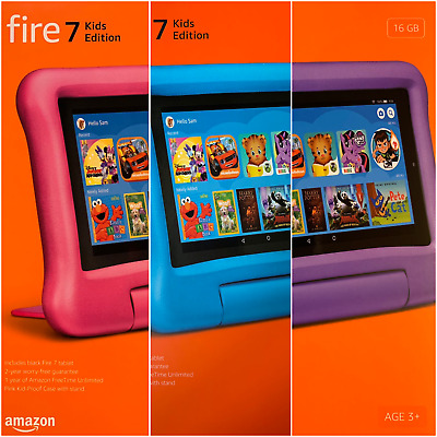 """All-New Amazon Fire 7 Kids Edition Tablet 7"""" Display 16 GB 9th Gen 2019 Version"""