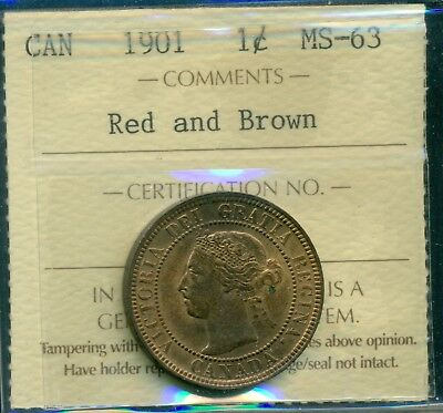 1901 Canada Queen Victoria Large Cent ICCS Certified MS-63 Red and Brown