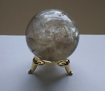 Stunning Natural Rainbow Smoky Ghost Quartz Crystal Healing Sphere Ball Stand