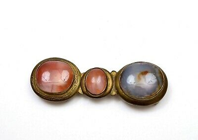 19th Century Chinese Bronze Agate Carnelian Carved Carving Cabochon Belt Buckle