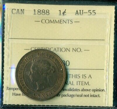 1888 Canada Large Cent Queen Victoria ICCS Certified AU-55  T266