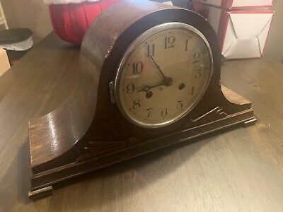 Vintage Oak Dubros Stores Enfield Napoleon Hat 14 Day Striking Mantel Clock