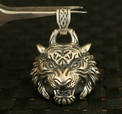 Chinese 925 silver Hand cast tiger statue pendant netsuke collectable cool gift