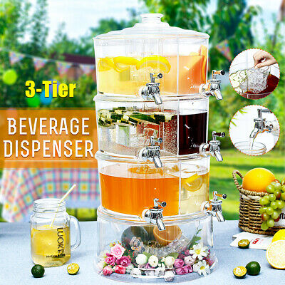 AU 3 Tiers Commercial Cold Drink Juice Dispenser Iced Beverage Holder Machine