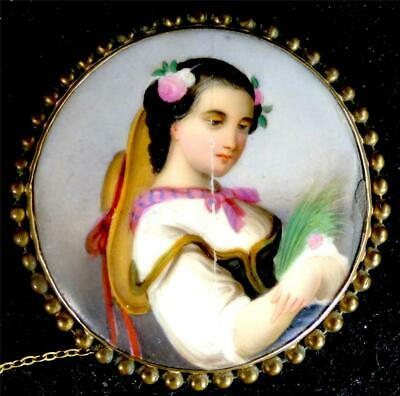 Antique Continental Hand Painted Porcelain Plaque Brooch Girl With Hat