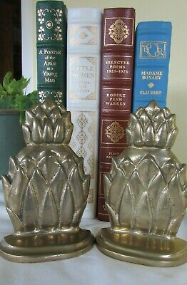 Vintage Pair Brass Pineapple Bookends Heavy