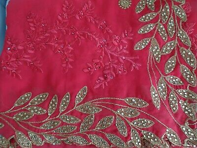 Brand New - Bollywood Sari Saree - Rose Pink & Gold Sequins - Light weight