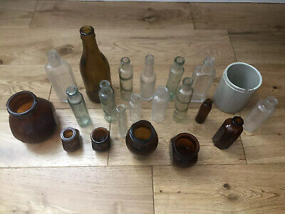 Vintage Collectable 21 Old Glass Bottles Jar  Good Condition