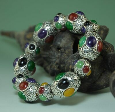 delicate china old hand-made Tibetan silver inlay Six color gem Bracelet Ab02J