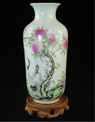 china old famille-rose porcelain hand painted peach Crane antique vase Cc01J