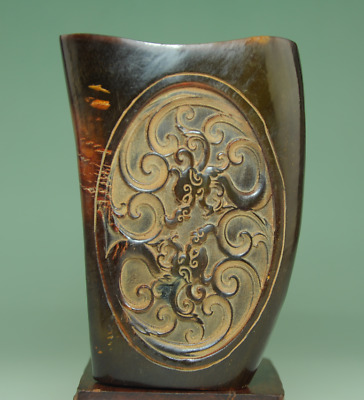 china old hand-made horn carving four dragon statue antique cup Bb01J