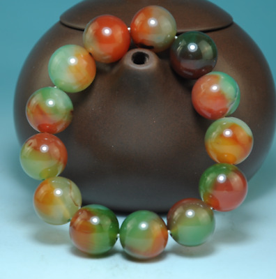 Collection Pure Natural peacock green carnelian agate Handworkjade bracelet B02J