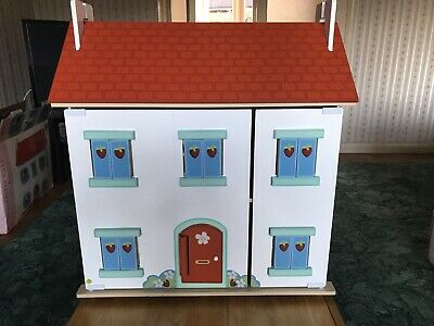 Wooden Dolls House, Le Toy Van Strawberry Villa, with Furniture And Dolls