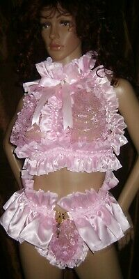 Prissy Sissy Maid Adult Baby CD/TV Lockable Slave Trap Lace Cup Bra & Padlock