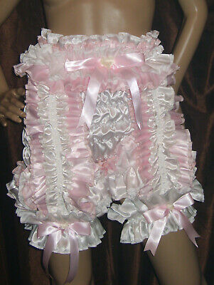 Prissy Sissy Maid Adult Baby Faux Satin Full Cut Suspender Panties & 2 Garters