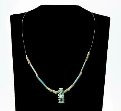Egyptian necklace with original faience amulet of god Ptaikos; 4th century BC.