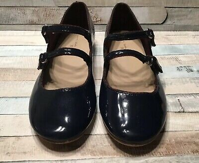 Zara Girls Navy Blue Mary Jane Patent Strap Flats Shoes US 4 35 Holiday