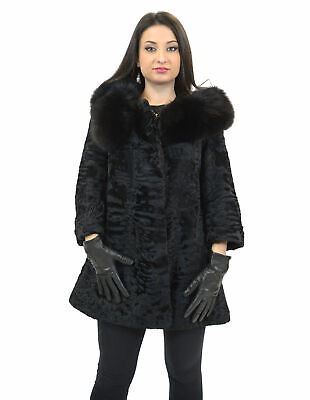 42 Pelliccia persiano nero collo staccabile calamite volpe Pelz fur persian Перс