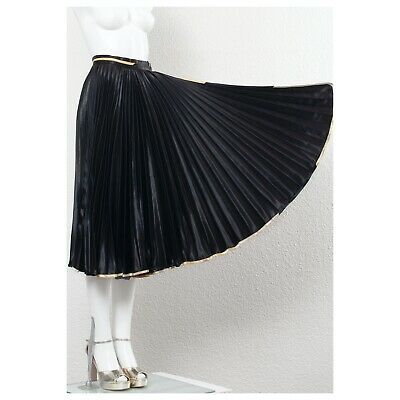Fabulous Knife Pleated Black Satin Fong Leng Full Circle Wrap Skirt