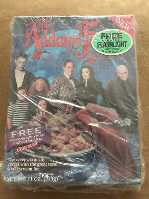 cereal Removed From Bottom 1991 Addams Family Cereal Box And Flashlight