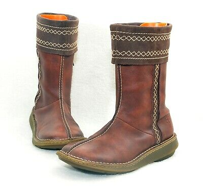 Womens Dr Martens Lynette Burnished Brown Leather Boots Sz 8 Uk 42 Eur Good Used