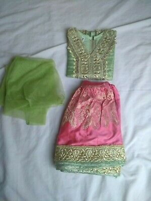 Lovely Shiny Green & Pink Little Girl's Asian Dress - New Condition