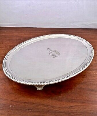 """Large Crouch & Hannam Sterling Silver Georgian Footed Tray 12"""", London 1806"""