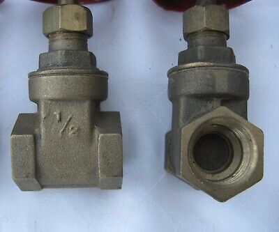 "Gate Valve, Brass, 1/2"" : 2 X. NEW."
