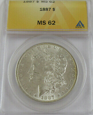 1887 Morgan Silver Dollar ANACS MS 62 * Early Date Coin