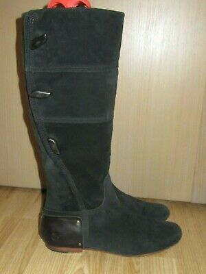 Womens TIMBERLAND Black Suede Leather Knee High Boots 8.5W / UK 6.5 Great